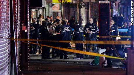 NYPD officers near the Brooklyn site where Dzenan Camovic shot two officers on June 4, 2020.
