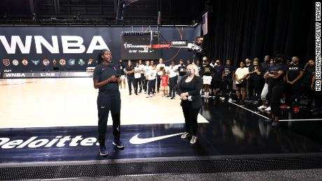 """Elizabeth Williams of the Atlanta Dream said WNBA players were standing in solidarity with """"our brothers in the NBA."""""""