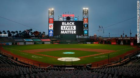 The words 'Black Lives Matter' are displayed on the digital screen after the postponement of the game between the San Francisco Giants and the Los Angeles Dodgers Wednesday.