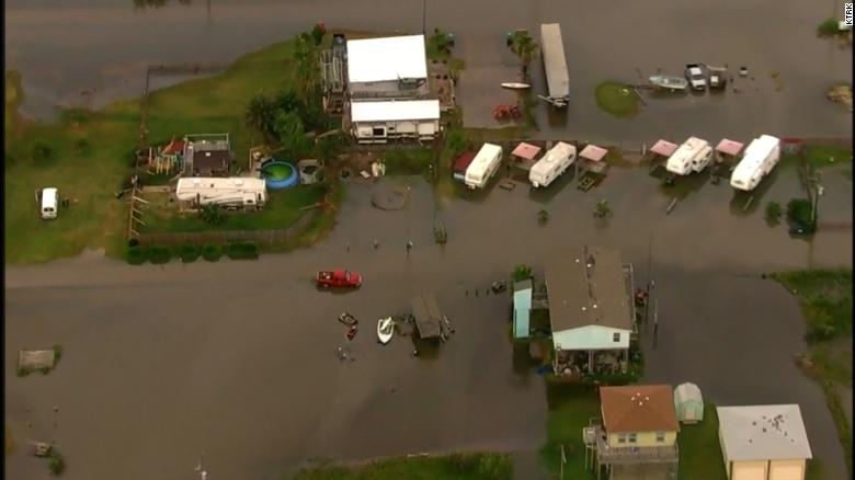 Flooding inundates the Crystal Beach and Galveston areas in Texas, video from KRTK shows.