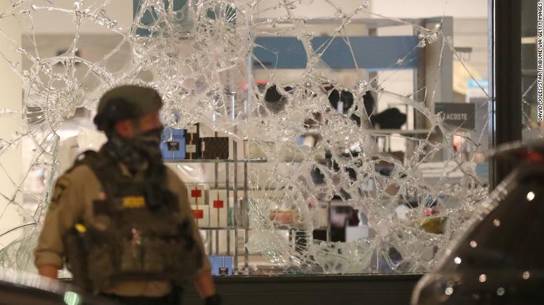 A broken window at Nordstrom Rack during unrest in downtown Minneapolis on August 26.