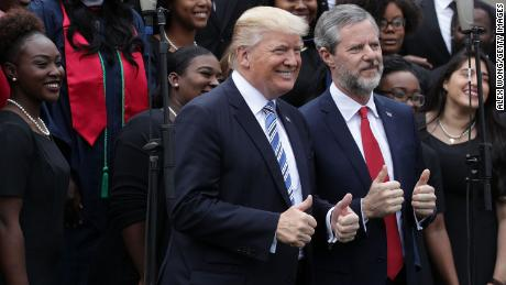 President Donald Trump and Jerry Falwell Jr. during 2017 commencement ceremonies at Liberty University in Lynchburg, Virginia.