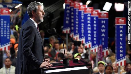 Falwell Jr. speaks during the 2016 Republican National Convention in Cleveland, Ohio.