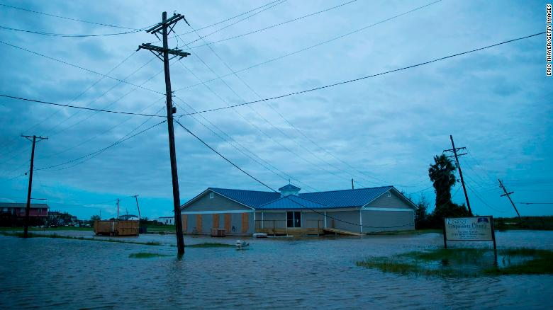 Flooding caused by Hurricane Laura is seen in Sabine Pass, Port Arthur, Texas.