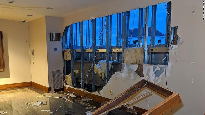 This photo from a reporter at CNN affiliate station WVUE shows how the storm blasted through the wall of the L'Auberge Casino in Lake Charles.