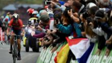 Fans cheer Italy's Vincenzo Nibali in the Tour de France last year on July 27.
