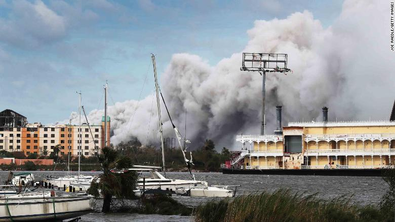 Smoke rises Thursday from what is reported to be a chemical plant fire in Lake Charles, Louisiana.