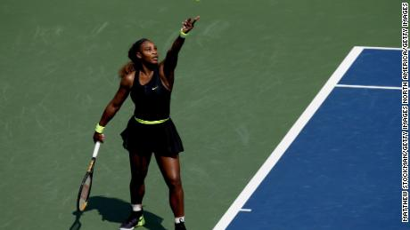 Serena Williams serves to Arantxa Rus of Netherlands during the Western & Southern Open at the USTA Billie Jean King National Tennis Center on August 24, 2020 in the Queens borough of New York City.