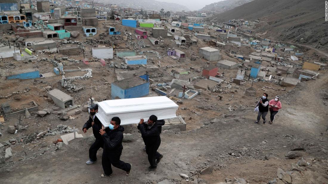 Cemetery workers carry Wilson Gil's remains on the outskirts of Lima, Peru, on August 26. Gil died of complications related to Covid-19, according to family members.