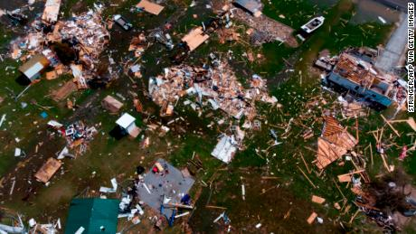 This aerial view shows damage from Hurricane Laura to a neighborhood outside of Lake Charles, Louisiana. President Donald Trump and Vice President Mike Pence both mentioned the storm, but did not connect it to the climate crisis.