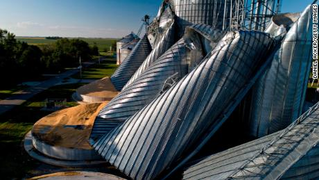 Powerful winds destroyed crop fields and these grain bins, photographed by drone in Luther, Iowa.