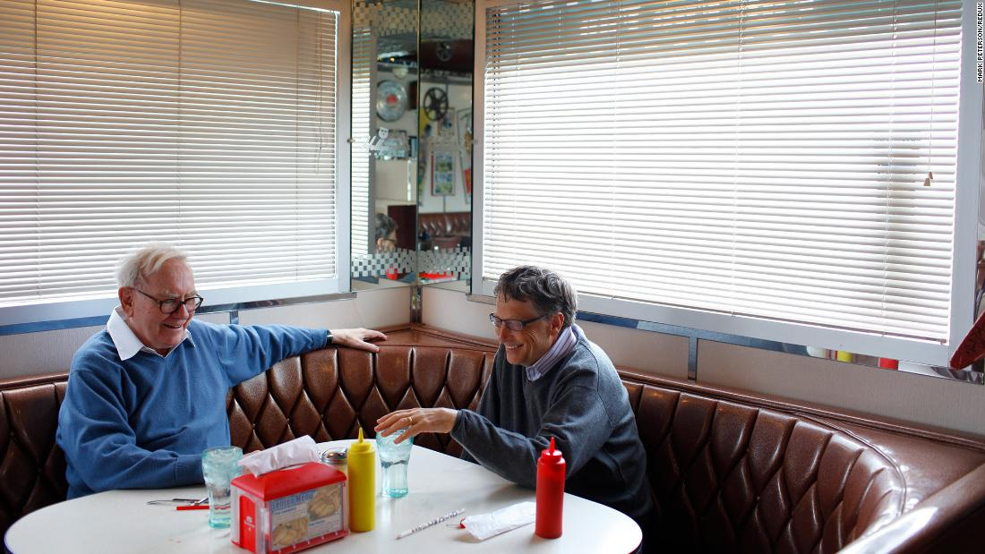 Buffett and Microsoft Chairman Bill Gates enjoy a meal together at the Hollywood Diner in Omaha in 2010. That year, the two launched The Giving Pledge, which encourages the world's billionaires to dedicate the majority of their wealth to philanthropic causes.
