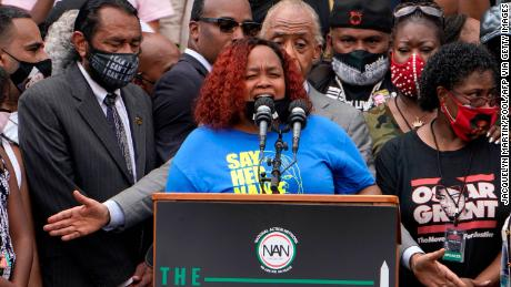 Tamika Palmer, mother of Breonna Taylor, speaks at the Lincoln Memorial in Washington DC last month.