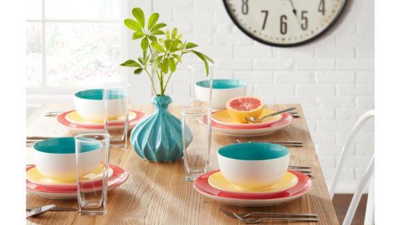 StyleWell 16-Piece Bright Mix & Match Stoneware Dinnerware Set