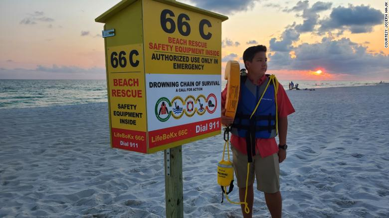 A 13-year-old invents an emergency kit to prevent drownings on Florida beaches