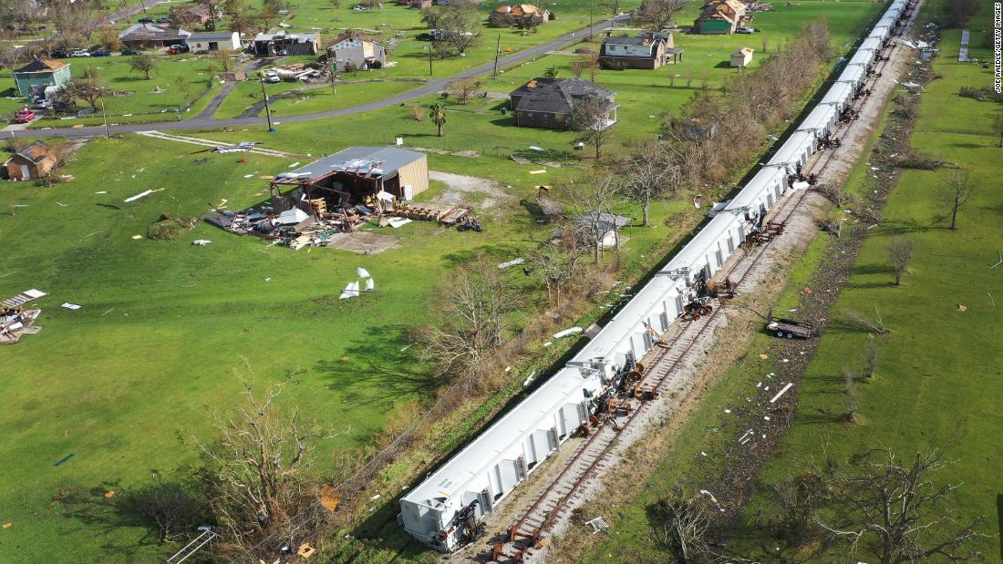 Derailed train cars lie on their side in Lake Charles, Louisiana, on August 29.