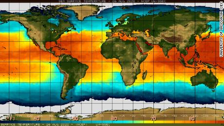 Sea surface temperatures on Wednesday, August 26, 2020.