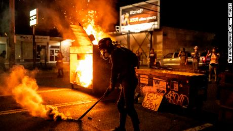 Fires were lit during protests Friday night in Portland.