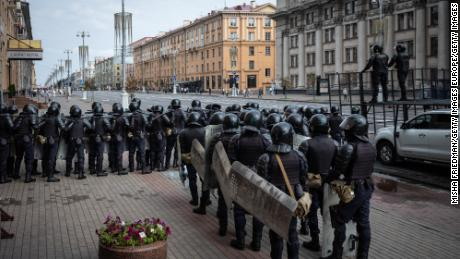 Riot police gather in Minsk, Belarus to break up an anti-government rally on August 30, 2020.