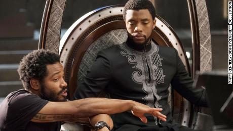 "Director Ryan Coogler and Chadwick Boseman on the set of ""Black Panther"""