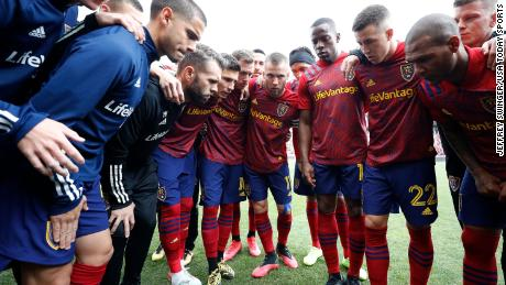 Real Salt Lake players huddle before a March game at Rio Tinto Stadium.
