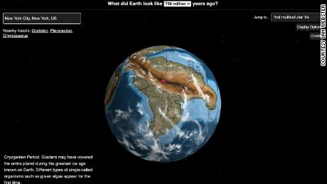 Where New York City was on Earth 750 million years ago, according to the Ancient Earth map.