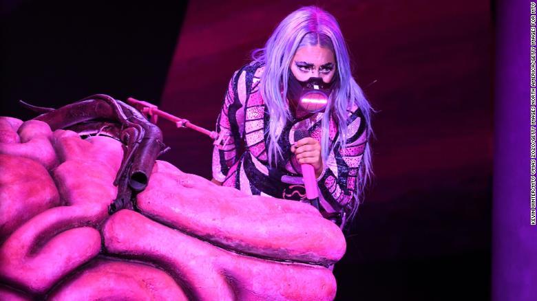 Lady Gaga performing at the VMAs in Sunday,