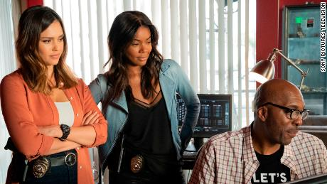 Jessica Alba, Gabrielle Union and John Salley in 'L.A.'s Finest.'
