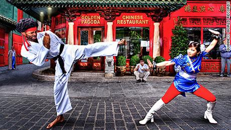 "From Guinness World Records press release: Chinatown, London, 2012: Hart dressed as the Street Fighter character Ryu with ""Kayane"", aka Marie-Laure Norindr (France), dressed as Chun LI -- the first woman to win a pro-Street Fighter event."