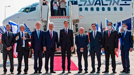The delegation in front of El Al flight LY971 at Ben-Gurion Airport in Tel Aviv, Israel, on Monday.