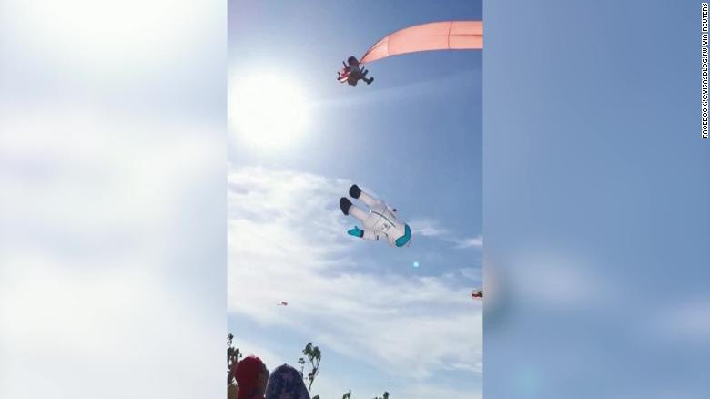 The child was in the air for about 30 seconds before she was lowered to the ground.