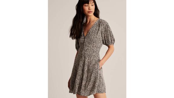 Puff-Sleeve Button-Front Minidress