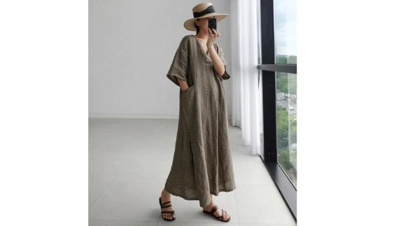 CocoLeoStudio Cotton + Linen V-Neck Short Sleeve Dress With Pockets