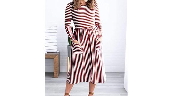Merokeety Midi Dress With Pockets