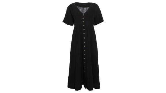 Madewell Button-Front Gauze Midi Dress