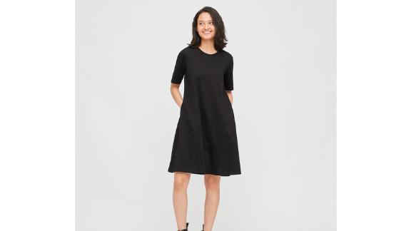 Women Mercerized Cotton Half-Sleeve A-Line Dress