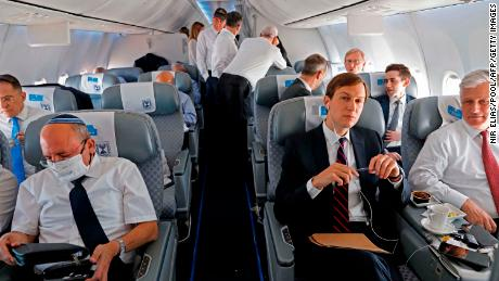 Kushner, center, O'Brien, right, and the Head of Israel's National Security Council Meir Ben-Shabbat, left, on board the El Al flight.