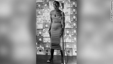 Miriam Makeba posing in 1955 for a cover photograph in a recording studio in downtown Jo'burg.