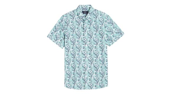 1901 Leaf Print Short-Sleeve Button-Down Shirt