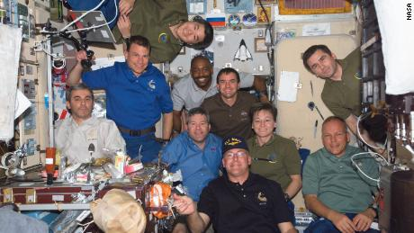 Melvin was with nine other crew members on the space station in February 2008. On the left side of the frame, from top to bottom, are astronauts Daniel Tani, Stanley Love and the European Space Agency's Leopold Eyharts. In  the center, from the top, are astronauts Leland Melvin, Rex Walheim, Steve Frick, Peggy Whitson and Alan Poindexter. Cosmonaut Yuri Malenchenko of Russia's Federal Space Agency is top right and below him is ESA astronaut Hans Schlegel.