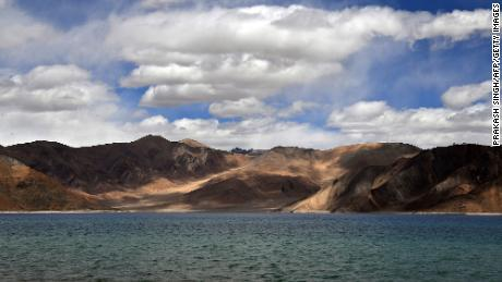 This photo taken on September 14, 2018, shows a general view of Pangong Lake from the Indian-controlled side.
