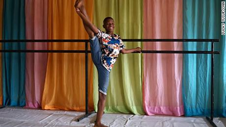 11 year old Anthony Madu learned to dance ballet at the Leap of Dance Academy in Lagos, Nigeria