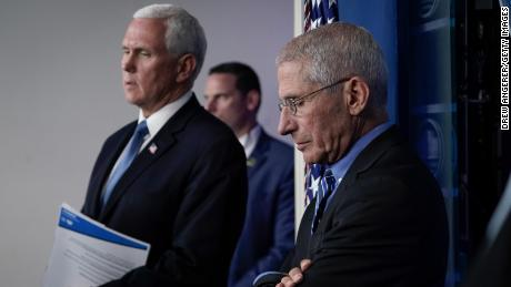 Vice President Mike Pence and Dr. Anthony Fauci, director of the National Institute of Allergy and Infectious Diseases, attend a briefing on the coronavirus pandemic, in the press briefing room of the White House on March 24, 2020 in Washington, DC.
