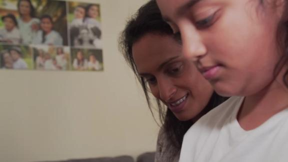 A screenshot of Alpana Chakravarti, a single mother of two who was laid off due to the pandemic, with her daughter.