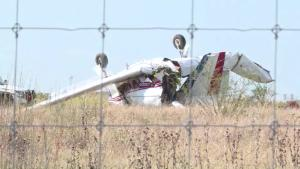 The scene of a plane crash at Coulter Airfield in Bryan, Texas, on August 30, 2020.