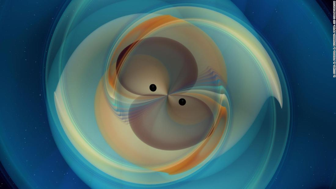 This is a simulation of two spiral black holes that merge and emit gravitational waves.
