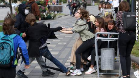 Security officials detained student protesters in Minsk on Tuesday.