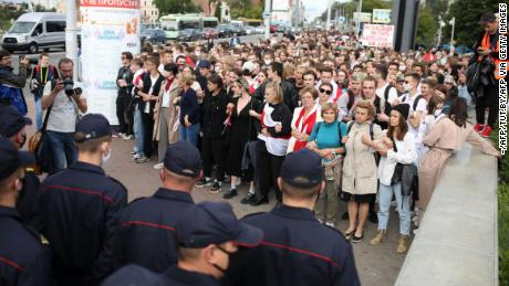 Students gathered in Minsk on Tuesday to march against the Belarusian presidential election results.