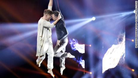 Jakob Fauerby and Silas Holst, the first male couple on Denmark's version of 'Dancing with the Stars,' win the final on November 29, 2019.