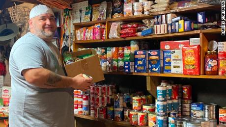 Barney Corrigan transformed his garage into a food pantry.